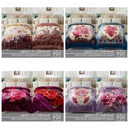 Fleece Mink Thick Blanket 2 ply Printed Warm Korean Style Be
