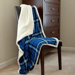 Lavish Home Fleece Sherpa Blanket Throw - Blue Plaid 50 x 60