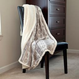 Lavish Home Fleece Sherpa Gray Snowflake Throw Blanket 50 x