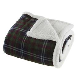 Lavish Home Fleece Sherpa Plaid Multi-Colored Throw Blanket