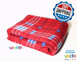 Fleece Throw 50x60 Inches Blanket Red Blue Plaid