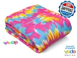Fleece Throw 50x60 Inches Blanket Tie Dye Colorful Pink Blue