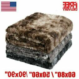 Fleece Throw Blanket Large Sofa Bed Thick Warm Faux Fur Mink