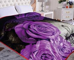 "Floral Blanket,90""Hx75""W, Mink purple swan blanket, supersof"
