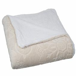 Lavish Home Floral Etched Fleece Blanket with Sherpa, Full/Q