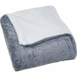 Floral Etched Fleece Blanket with Sherpa luxuriously soft fl