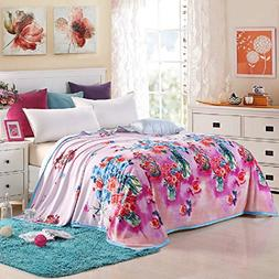 Luckey1 Flower Print Queen Size Bed Blanket