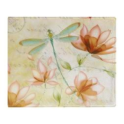 CafePress - Pink Flowers And Dragonfly - Soft Fleece Throw B