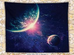 Galaxy Fleece Throw Blanket Outer Space Theme Planet Earth M