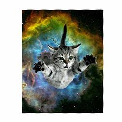 QH Galaxy Space Cat Print Throw Blanket Comfort Design Home