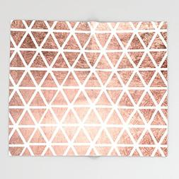 Society6 Geometric faux rose gold foil triangles pattern Thr