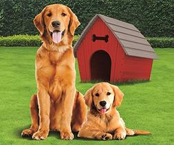 "Golden Retriever with Dog House Fleece Throw Blanket 50"" x 6"
