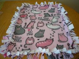 Handmade fleece tie blanket of cats napping for a small pet
