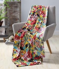 Hudson & Essex Hawaiian Bright and Bold Velvet Fleece Throw