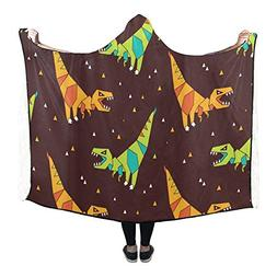 InterestPrint Hooded Blanket Dinosaurs And TrianglesThrow Bl