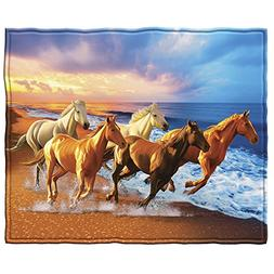 Horses on the Beach Fleece Throw Blanket