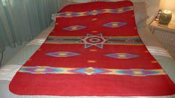 St Labre Indian School Blanket Southwest Aztec Red Throw Fle