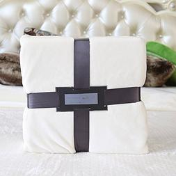 ClothKnow Flannel Blankets King Size Solid Ivory for Bed Lig