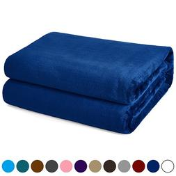 kawahome Navy Blue King Flannel Fleece Luxury Blanket Super
