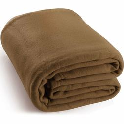 King Polar-Fleece Blanket Chocolate - Extra Soft Brush Fabri