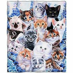"""Kitten Collage Throws Fleece Blanket By Jenny Newland Home """""""