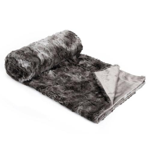 "Luxury Fur Fleece Blanket for Couch Bed x 80"" US"