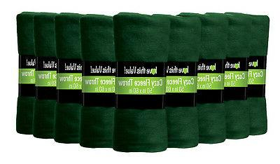 12 Pack Soft Warm Fleece Blanket or Throw Blanket - 50 x 60
