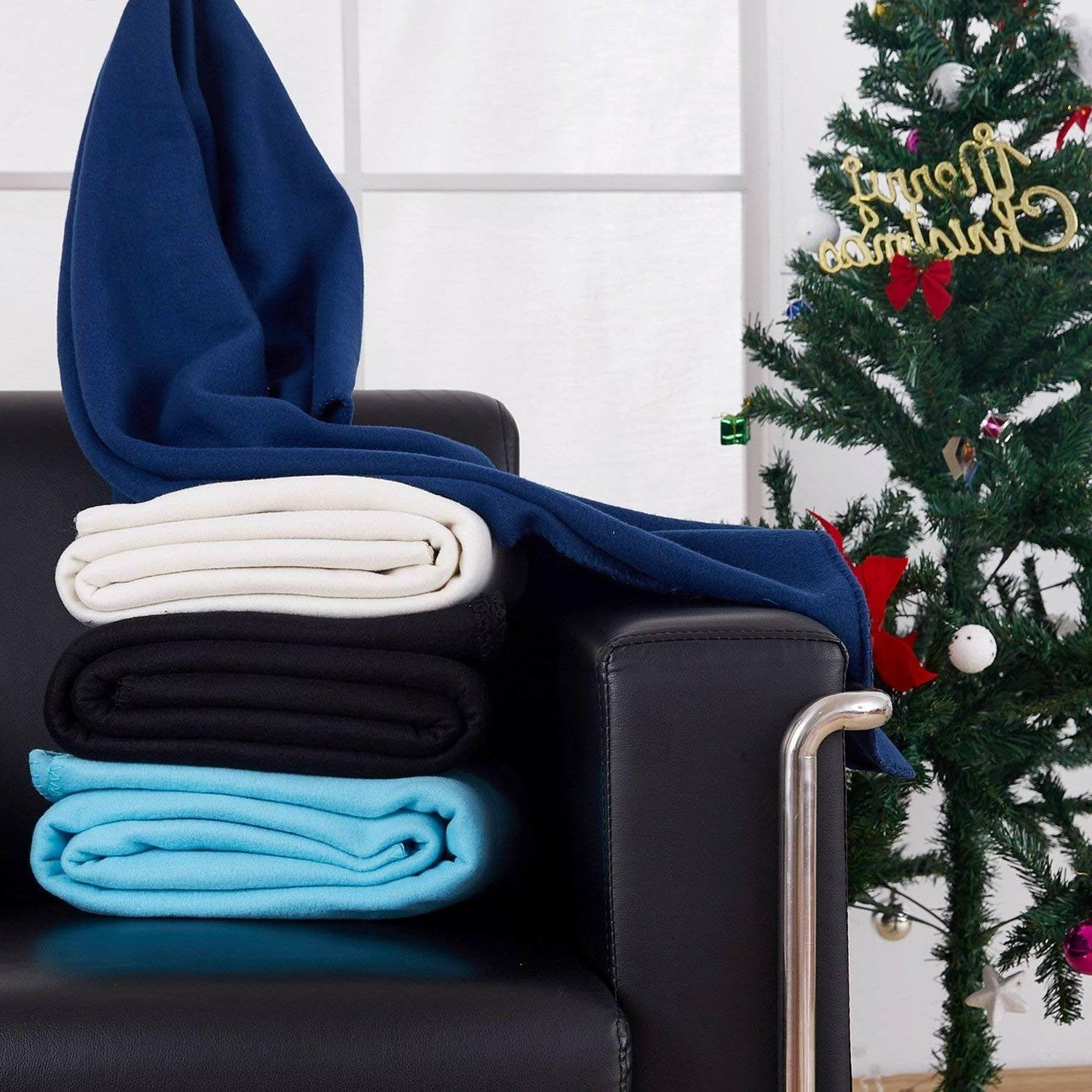 2 fleece blankets soft microfiber all season