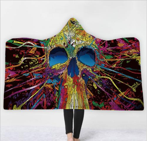 3D Skull Fleece Blanket Soft Wearable Throw Warm