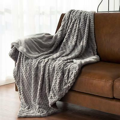 "Bedsure Faux Fur Blanket Fleece Bed Throw 50""x60"" Grey, Super Soft &"