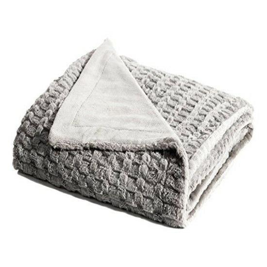 Bedsure Faux Throw Blanket Bed 50quotx60quot Solid Su