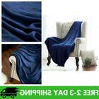 Bedsure Flannel Fleece Luxury Blanket Blue Navy Throw Lightw