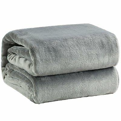 Bedsure Flannel Fleece Luxury Blanket Grey Queen Size Lightw