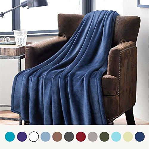 Bedsure Flannel Fleece Luxury Blanket Navy Queen Size Lightw