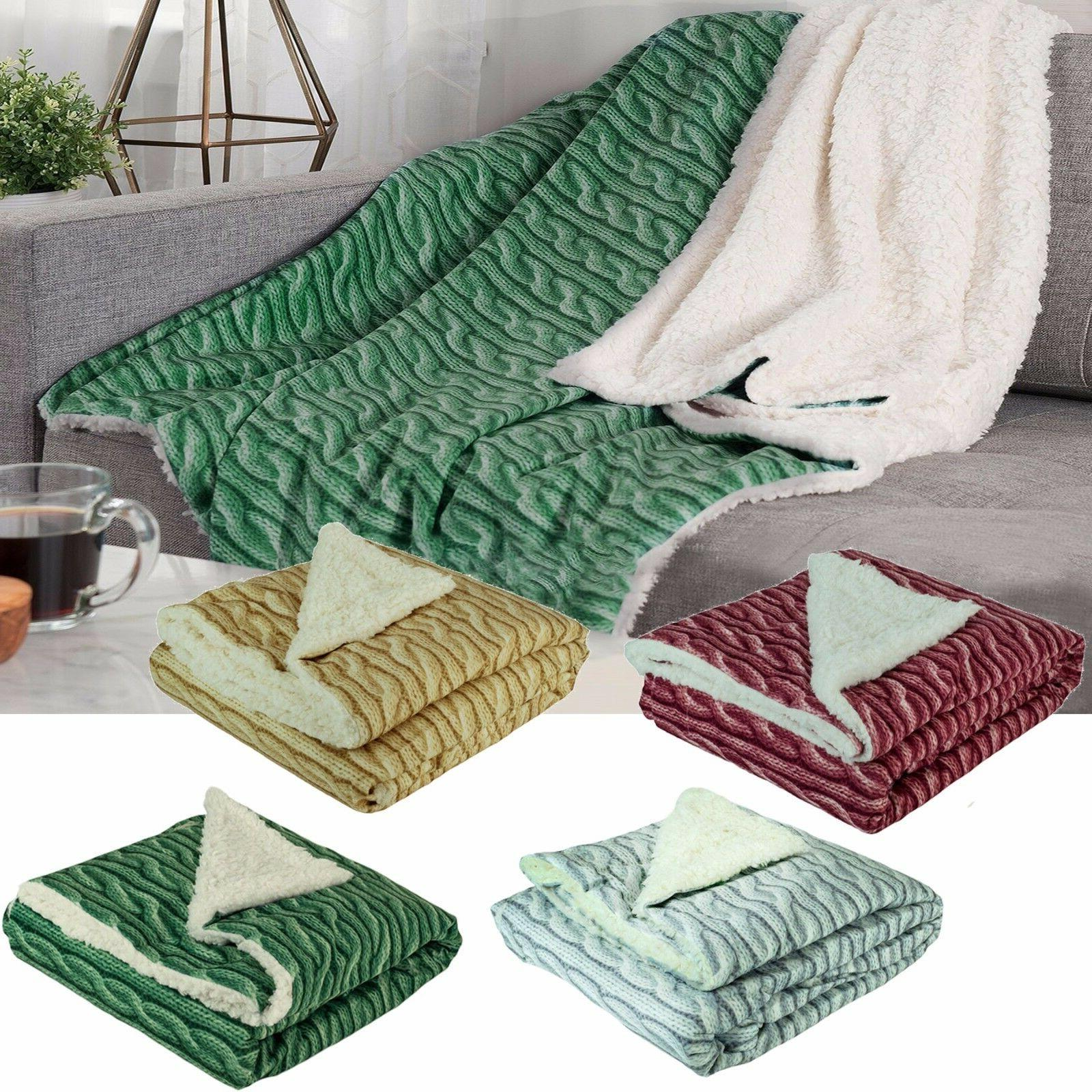 Christmas Holiday Throw Blanket Gift Cable Knit Design Fleec