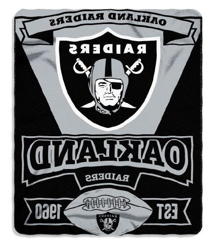 NFL Oakland Raiders Marque Printed Fleece Throw, 50-inch by