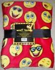 "NWT Emoji velvet throw fleece blanket 50"" x 60"" red with ass"