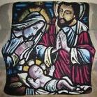 New Baby Jesus Mary Joseph Fleece Throw Blanket Stained Glas