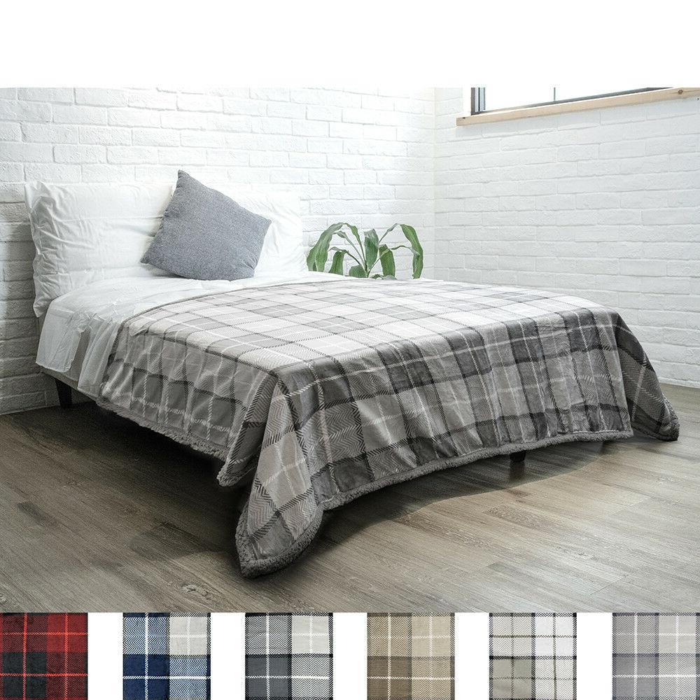 "PAVILIA Plaid Twin Size 60"" Luxury Microfiber"