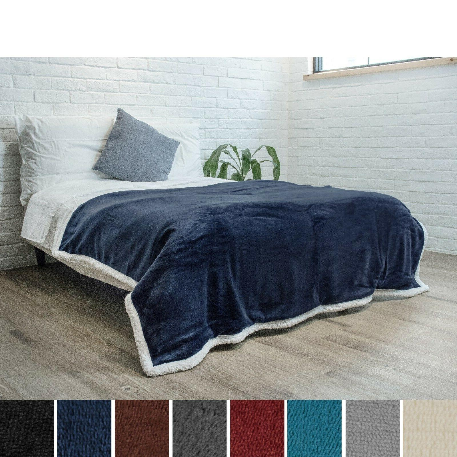 "Premium Sherpa Throw Blanket 60"" x 80"" Reversible Microfiber"
