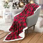 Sherpa Blanket Snuggie Super Soft Micro Fleece Plaid Pattern