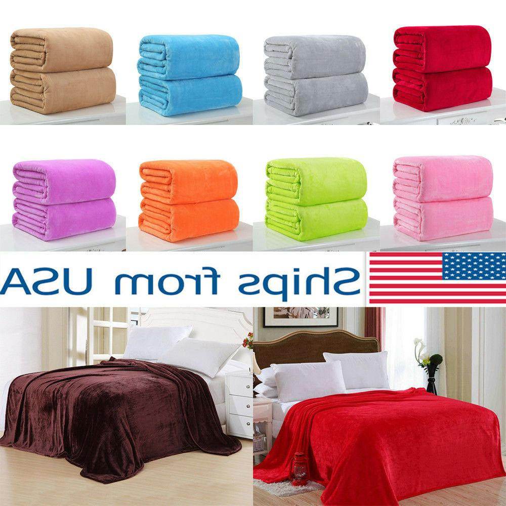 New Super Soft Micro Plush Fleece Blanket Solid Bedding Soft