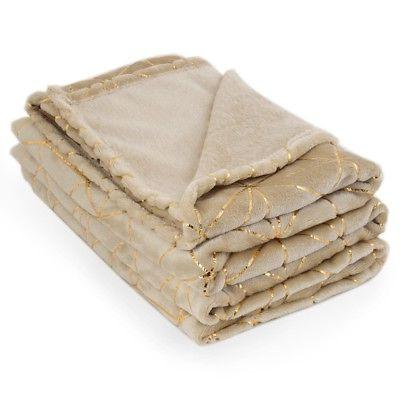 "Soft Warm Fleece Blanket With Gold Accents 52"" X 72"" Throw B"