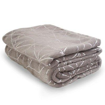 "Soft Warm Fleece Blanket With Silver Accents 52"" X 72"" Throw"