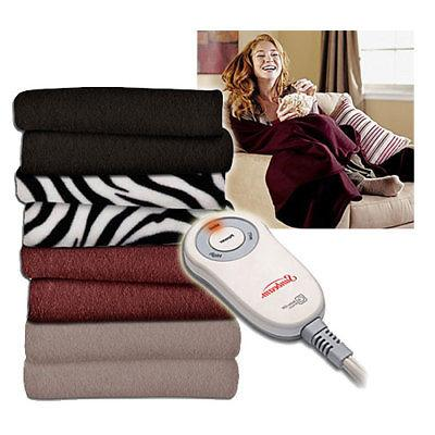 Sunbeam Electric Heated Fleece Warming Throw Blanket - Assor