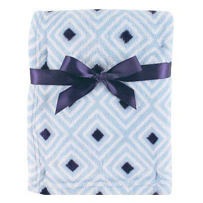 Luvable Friends Baby Boys Print Coral Fleece Blanket Blue Di
