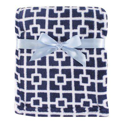 Luvable Friends Baby Boys Print Coral Fleece Blanket Blue Tr