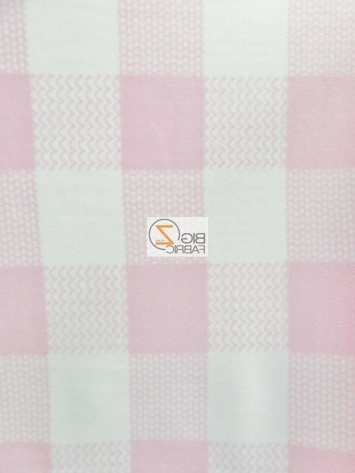 BABY CHECKERED PINK/WHITE FLEECE PRINTED FABRIC BY THE YARD