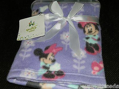 DISNEY BABY BLANKET MINNIE MOUSE FLEECE FLOWERS GIRL PURPLE