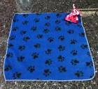Blue Paw Print Fleece Dog Comfort Security Blanket with Dog